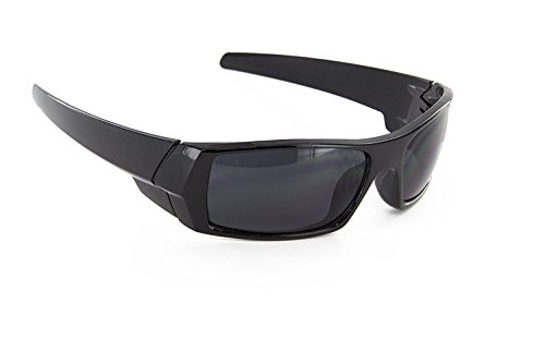 MJ EYEWEAR Men Black Frames and Super Dark Lens Sport Wrap Around Sunglasses