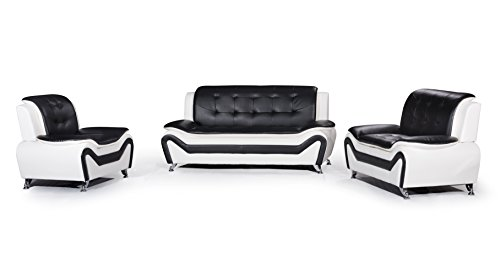 US Pride Furniture 3 Piece Modern Bonded Leather Sofa Set with Sofa, Loveseat, and Chair, White/Black