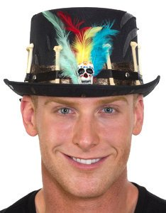 Witch Doctor Costume Halloween (Black Voodoo Hat with Feathers)