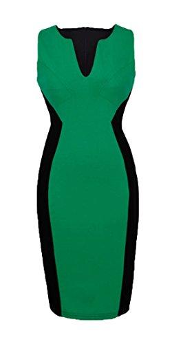 Homeyee Fashion Colorblock Sleeveless Bodycon