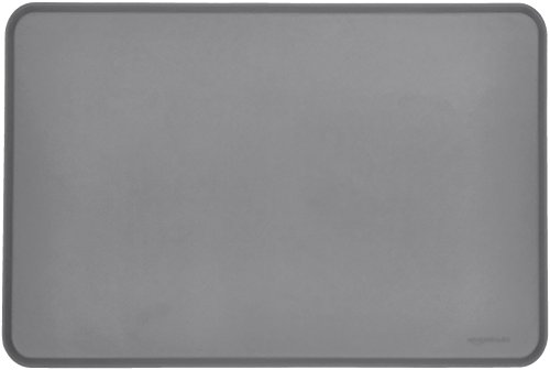 AmazonBasics Silicone Waterproof Pet Food And Water Bowl Mat For Dog or Cat - 24 x 16 Inches, Grey