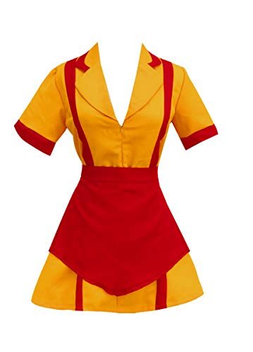 Amayar Women Waitress Uniform Cosplay Fancy Dress Party Costume Orange -