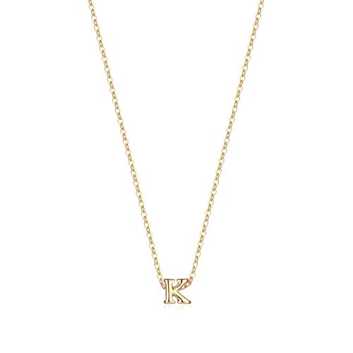 Petite Initial Necklace, 14K Gold Plated Dainty Letter K Necklace Delicate Mini Initial Personalized Choker Necklace for Girls Gifts ()