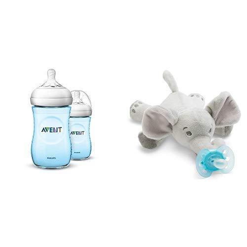 260 ml blau Philips Avent Natural Flasche SCF035//27 Doppelpack mit Snuggle Schnullertier Elefant