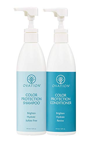 Ovation Hair Color Protection Shampoo and Conditioner Savings Bundle - Paraben and Sulfate Free with Natural Oil Extracts and Panthenol - For all hair types - 16oz Bottles