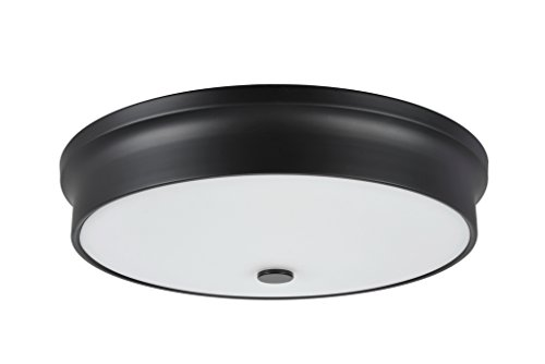 (Aspen Creative 63005L-3 63005L-2 Large LED Flush Mount in a Black Finish with Glass Shade)