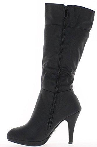 Nero stivali con tacco 10cm con ripiano