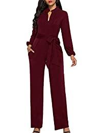 SOMTHRON Women's Sexy Keyhole Long Pants Rompers Overalls Belted Wide Leg Jumpsuits Onesies