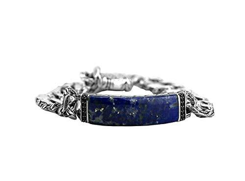 HJ John Hardy Sterling Silver Classic Chain Lapis Lazuli Black Sapphire Bracelet 162B