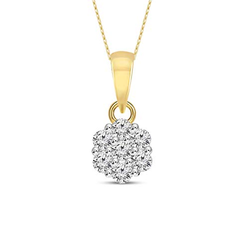 Mothers Day Gifts Luxury Cluster Necklace 1/4 cttw Lab Grown Diamond Cluster Pendant Lab Created Diamond Pendant SI-GH Quality 10K Real Diamond Yellow Gold Diamond Pendant (Jewelry Gifts For Mom)