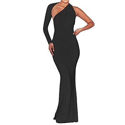 BEAGIMEG Women's Sexy Elegant One Shoulder Backless Evening Long Dress: Clothing