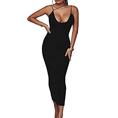 W-Fight Womens Sexy Deep V-Neck Irregular Strappy Maxi Bodycon Pencil Dress Backless Solid Color High Waist Bandage Night Party Clubwear Red