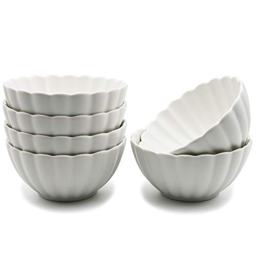 BonNoces Matt Porcelain Bowls - 10 Oz Elegant Petal Fluted Small Bowls Set for Cereal, Soup, Fruit, Small Side Dishes and Ice Cream - Set of 6 (White)