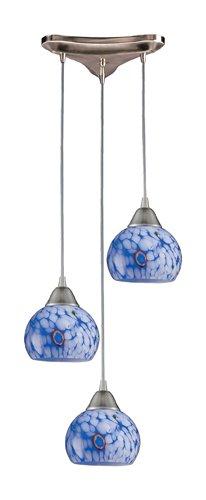 Mela 3 Light (Elk 101-3BL 3-Light Pendant In Satin Nickel And Starlight Blue Glass)