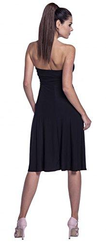 Zeta Ville - Cintura del imperio plisado vestido sedoso bandeau - mujer - 129z (Negro, EU 38/40, L)