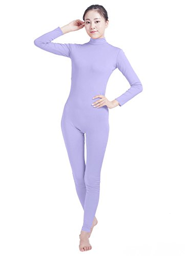 Shiningstar Girls Womens Well-Fit Turtleneck Spandex Long Sleeve Back Zipper Footless Unitard (XXXL, Light Purple) (Footless Unitard)