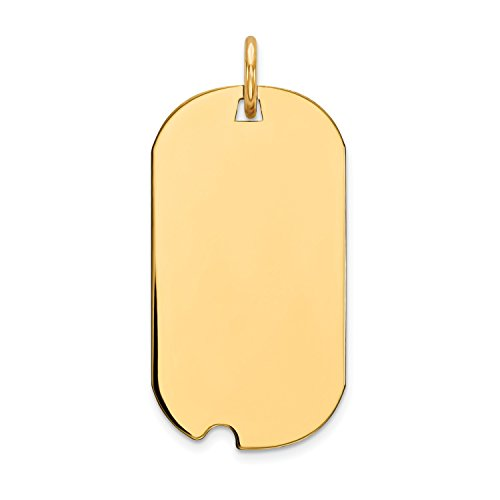 Roy Rose Jewelry 14K Yellow Gold Plain .013 Gauge Engravable Dog Tag w/Notch Disc Charm 13mm width