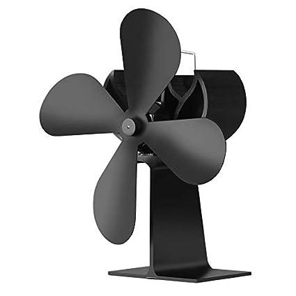 Pudincoco Heat Powered Stove Fan Log Quemador de leña Ecofan Quiet Home Chimenea Ventilador (Negro
