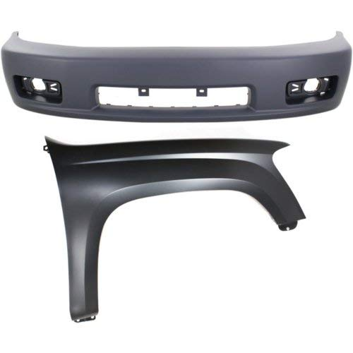 (Bumper Cover Kit Compatible with CHEVROLET Colorado 2005-2008 Set of 2 With Front Bumper Cover and Fender (Right Side) with Xtreme Model)