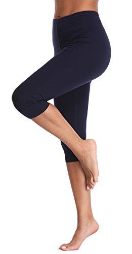 - A-Wintage Women's Plus Size Capri Leggings 3/4 Length Leggings Modal Comfortable Leggings,Dark Blue,X-Large