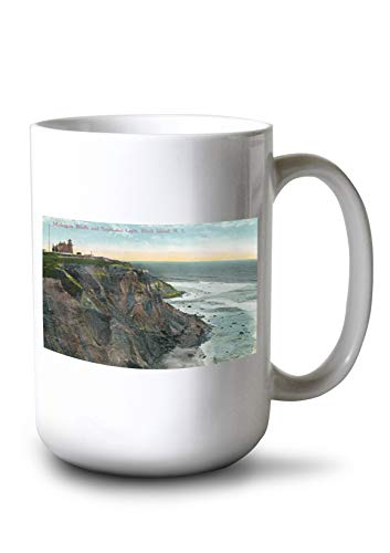 Lantern Press Block Island, RI - View of Mohegan Bluffs and Southeast Lighthouse (15oz White Ceramic Mug) ()