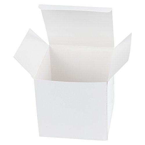 (LaRibbons 20Pcs Recycled Gift Boxes - 5 x 5 x 5 inches White Paper Box Kraft Cardboard Boxes with Lids for Party, Wedding, Gift Wrap)