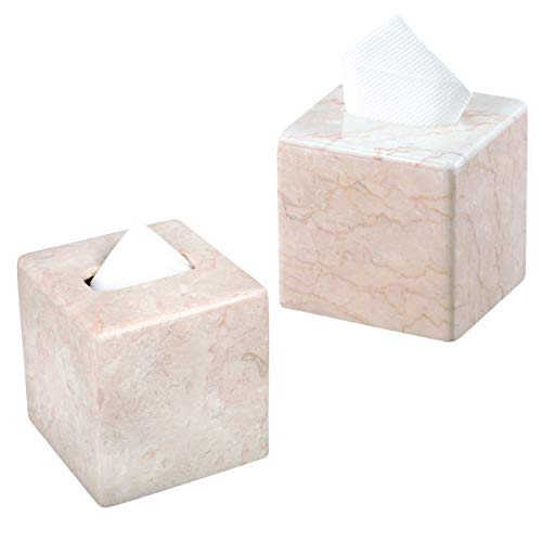 Creative Home Natural Champagne Marble Set of 2 pcs Tissue Box Cover, Holder (2) (Set Marble Champagne)