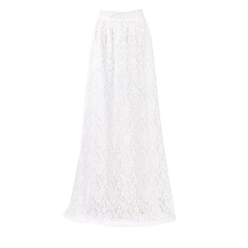 Lace Double Layer Pleated Long Maxi Skirt Women Elastic Waist Skirt White (Skirt White Broomstick)