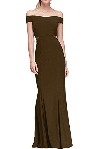 Schokolade the Ballkleid 2017 aermellos Satin off bodenlang Damen shoulder Neu Etui Partykleid Abendkleid Ivydressing qSTYOCH
