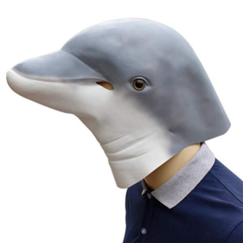 Novelty Halloween Costume Make up Party Latex Lovely Animal Dolphin Head Mask -