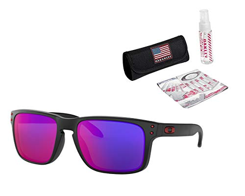 Oakley Holbrook Sunglasses (Matte Black Frame/Positive Red Iridium Lens) with USA Flag Lens Cleaning Kit