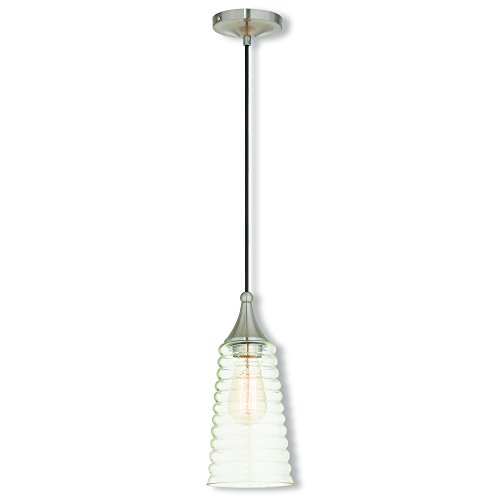Livex Lighting 40637-91 Art Glass 1 Light Brushed Nickel Mini Pendant