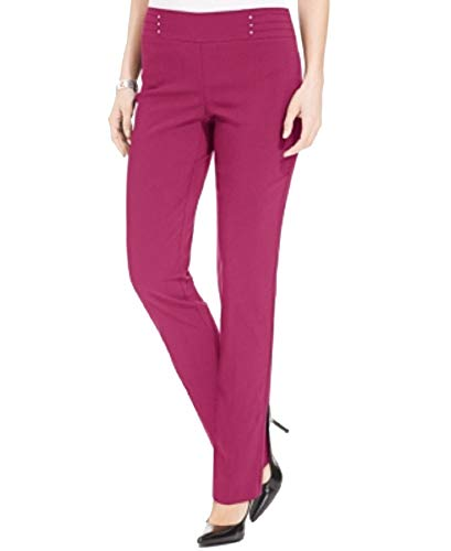 JM Collection Petite Studded Pull-On Pants (Steel Rose, PXL)