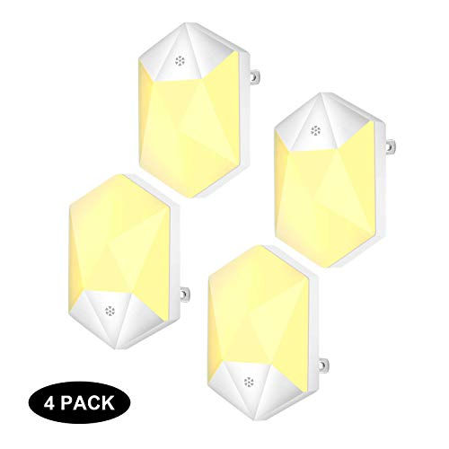 Plug-in Night Light,Warm White LED Night Lights with Auto Dusk to Dawn Sensor for Hallway,Bedroom,Kids Room,Kitchen,Bathroom,Stairway,Energy Efficient,Compact