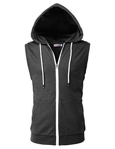 H2H Men's Sleeveless Thin Hoodie Athletic Zip-up Vest Tank-Top Pocket Charcoal US XL/Asia 2XL (CMOHOSL08)