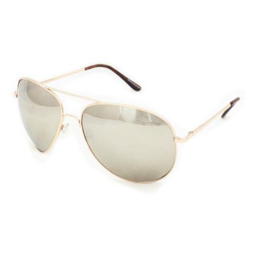 SWG EYEWEAR® Gold Aviator One Way Mirror Sunglasses w/ 400 - One Glasses Way Mirror