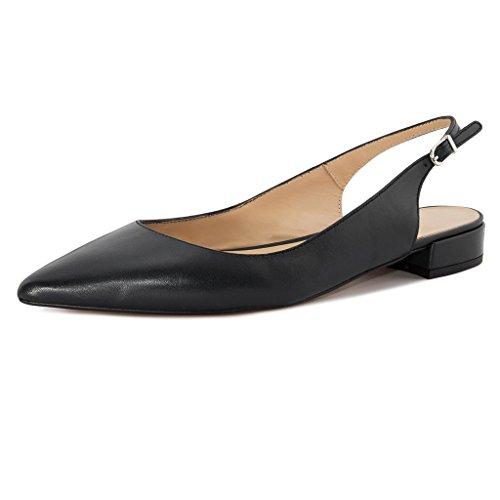 Eldof Women Low Heels Pumps | Pointed Toe Slingback Flat Pumps | 2cm Classic Elegante Court Shoes 2CM Black US8