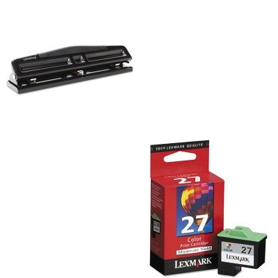 3 - Value Kit - Lexmark 10N0227 27 Ink (LEX10N0227) and Universal 12-Sheet Deluxe Two- and Three-Hole Adjustable Punch (UNV74323) (10n0227 Ink)