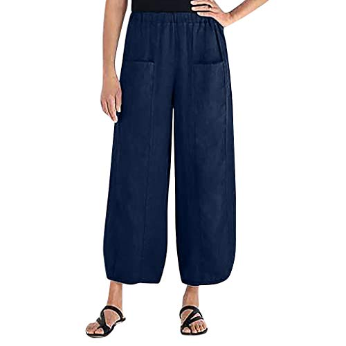 (CCatyam Plus Size Pants for Women, Wide Leg Harem Trousers Solid Loose Pockets Casual Fashion Navy)