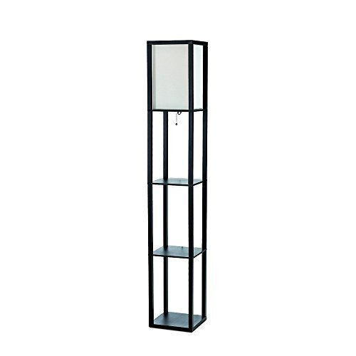 ALTLF1014BLK - Simple Designs Black Floor Lamp Etagere Organizer Storage Shelf with Linen Shade
