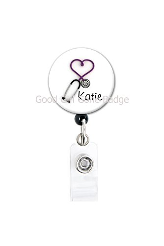 Retractable Badge Reel - Purple Heart Stethoscope - Personalized Name - Badge Holder