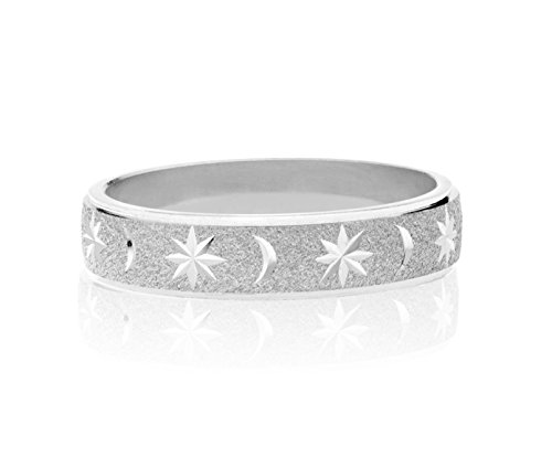 (MiaBella 925 Sterling Silver Italian Moon and Star Eternity Band Ring Jewelry for Women Men Choice of White or 18K Yellow Gold Over Silver (Rhodium, 8) )
