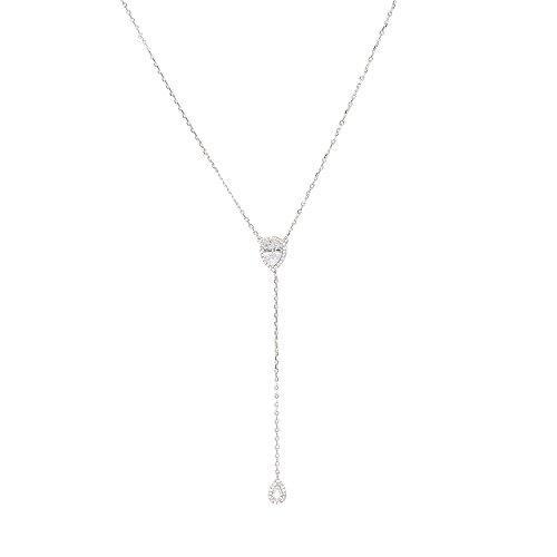 espere CZ Pear Drop Lariat Necklace 16 with 2.75 Y Drop Adjustable, 3 Colors Available