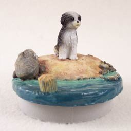 Conversation Concepts Miniature Shih Tzu Black & White w/Sport Cut Candle Topper Tiny One ''A Day on the Beach'' by Conversation Concepts