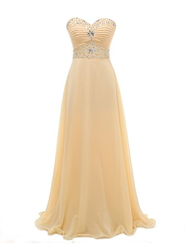 m Dresses Long Beaded Sweetheart Chiffon Evening Gowns L Champagne (Chiffon Prom Evening Gown)
