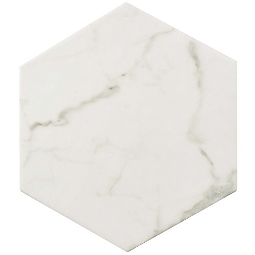 SomerTile FEQCRX Murmur Carrara Hexagon Porcelain Floor & Wall Tile, 7