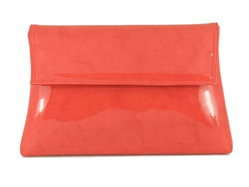 Charming Patent Shoulder Coral Orange Clutch body Womens Purse LONI Bag Cross w8x15IWUq