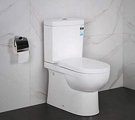 Close Coupled Toilet Back to Wall Soft Closing Seat (Close Coupled Toilet WC D Shape White Back to Wall Soft Close Seat Modern Design) C Ceramics