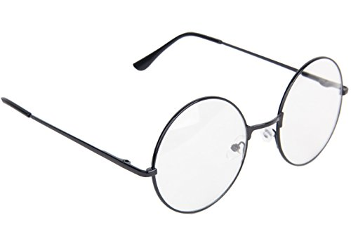 Topcosplay Children Kids Round Clear Metal Frame Glasses (Black, 14) (Old Man Costume)