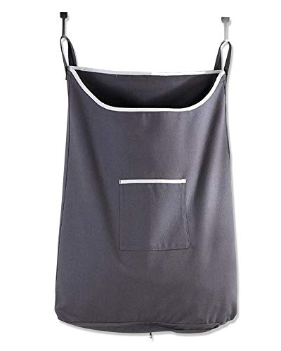 The Fine Living Co USA - Space Saving Door Hanging Laundry Hamper Bag in Grey - Free Door Hooks - Open Top Design to Hold More Laundry Than Other Type Bags - Tested to be Strong and Durable (Clothes Hamper The Door Over)